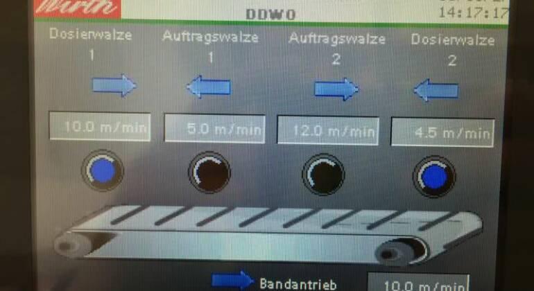 Modernes Touch Display  des Walzenauftragsmaschinen Hersteller axel Wirth , Ölauftragsmaschine, touch display  of DDWO