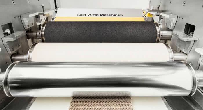 Detail einer Walzenauftragsmaschine von Axel Wirth, dose roller system DDWO,